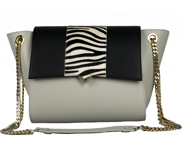 Paris Bag - Pearl Caviar Leather & White Lizard Cover