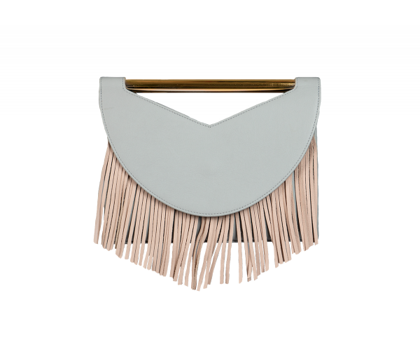 Rio - Pearl Leather Caviar with grey and nude fringes