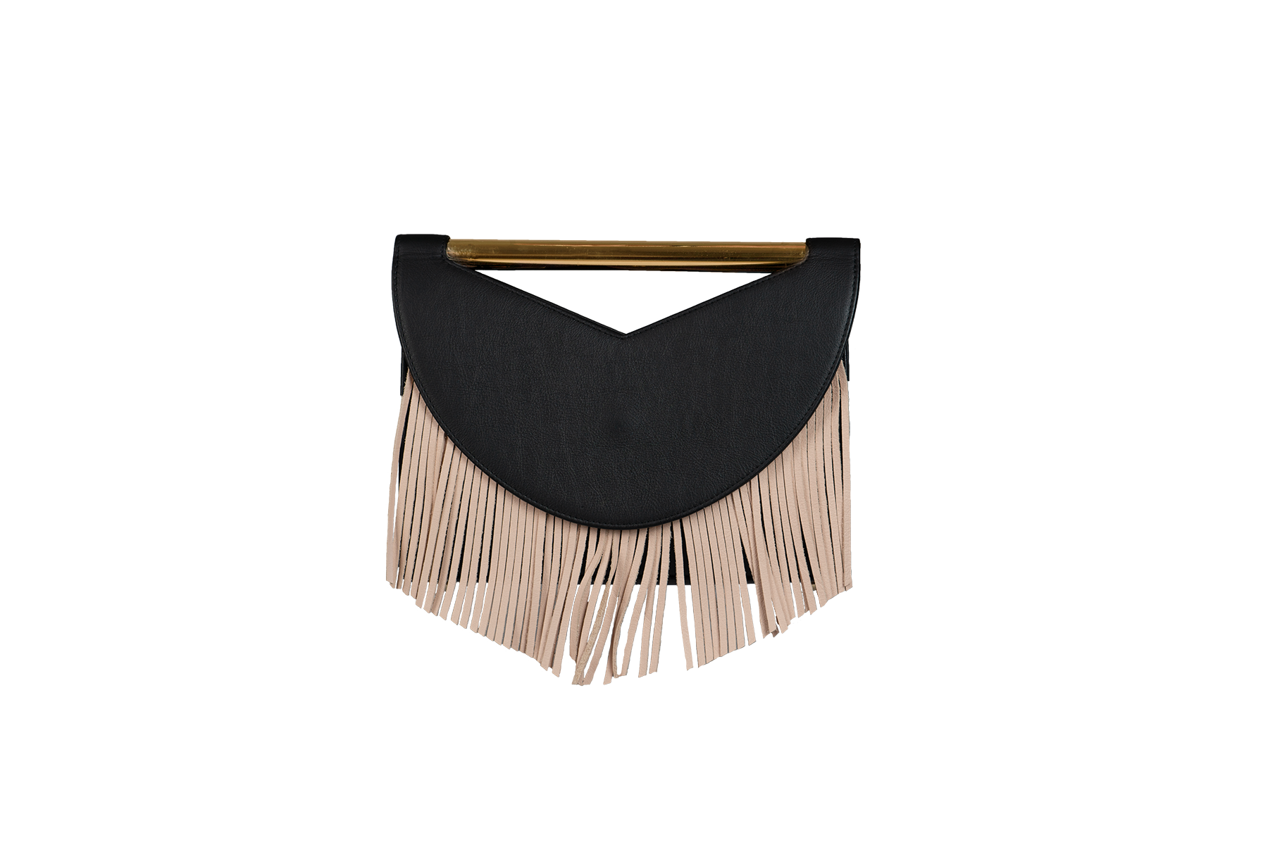Rio - Black Leather Caviar with grey and nude fringes