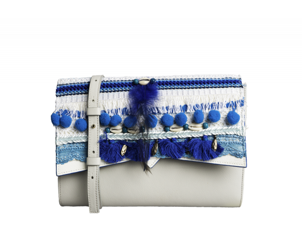 Sac Roma - Base Cuir Caviar Perle et Rabat Coquillage Bleu
