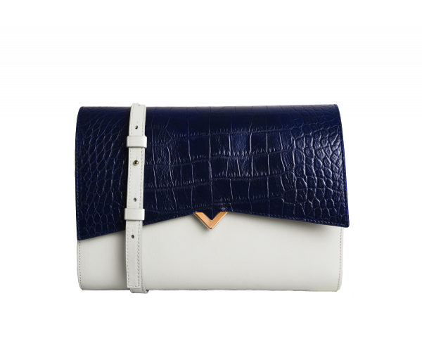 Roma Bag - Pearl Caviar Leather & Navy Croco Cover