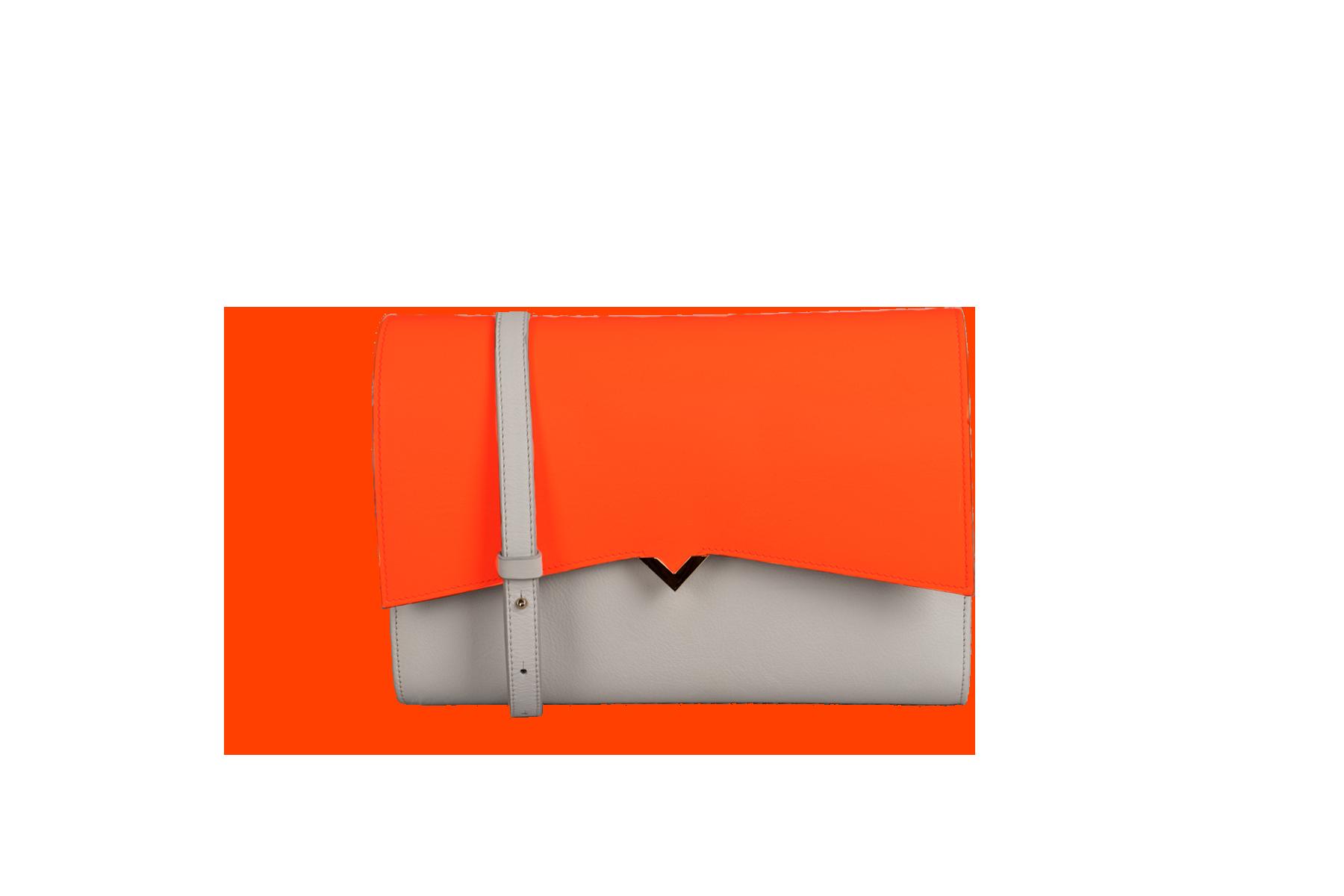 Sac Roma - Base Cuir Orange et Rabat Combinaison Cuir & Serpent