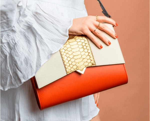 Sac Roma - Base Cuir Orange et Rabat Combinaison Cuir & Serpent