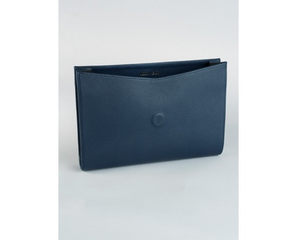 Midnight blue grained caviar leather