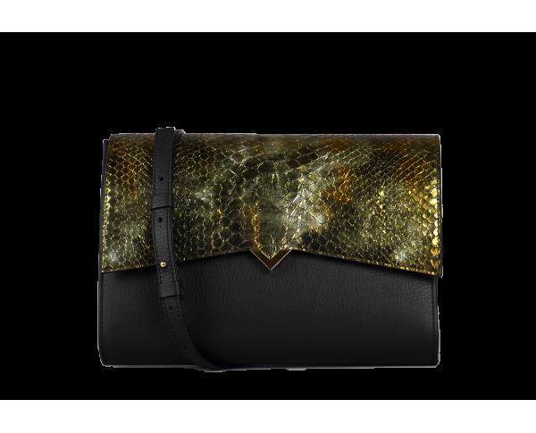 Roma Bag - Black Caviar Leather & Kaki Boa Cover