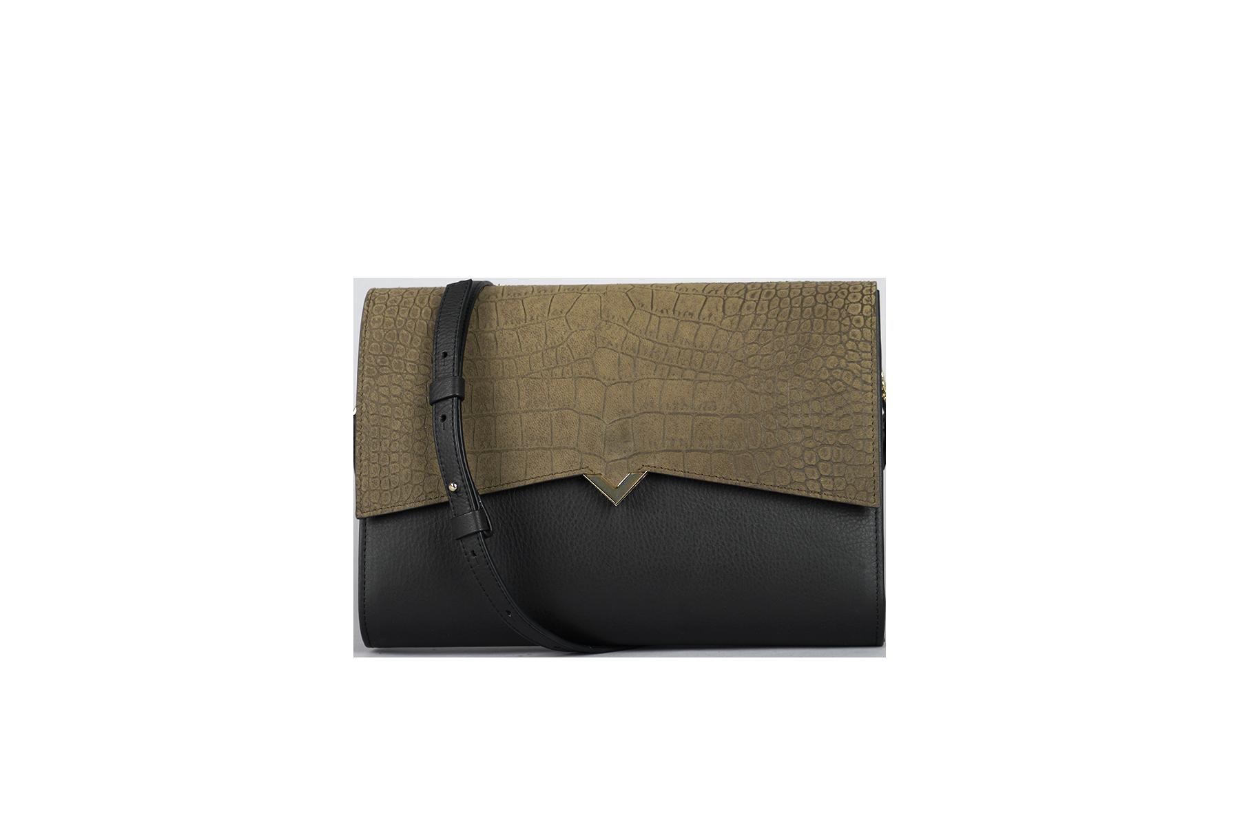 Roma Bag - Black Caviar Leather & Kaki Croco Cover
