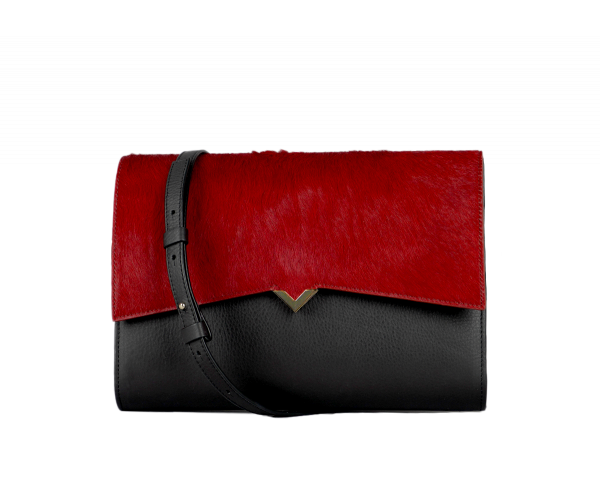 Roma Bag - Black Caviar Leather & Red Long Calf Hair Cover