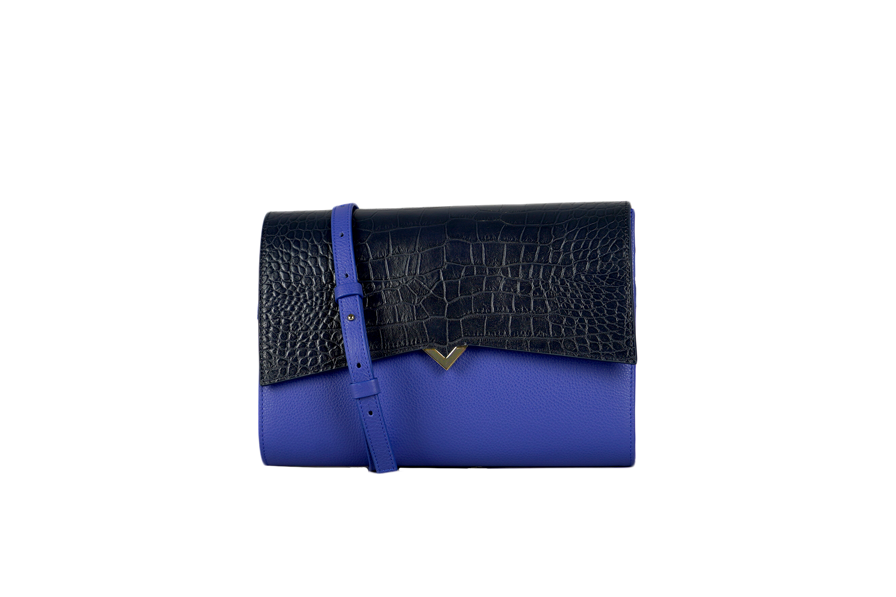 Roma Bag - Blue Leather & Navy Croco Cover